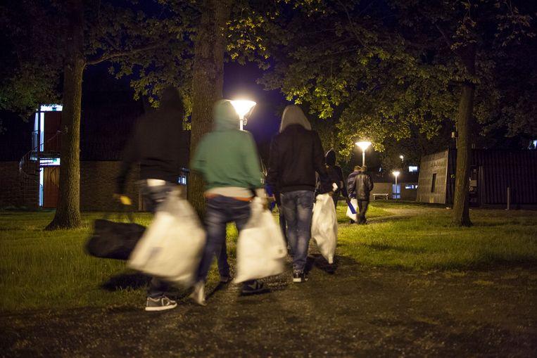 Een tijdelijke opvang voor asielzoekers in Veenhuizen. Beeld Harry Cock/de Volkskrant