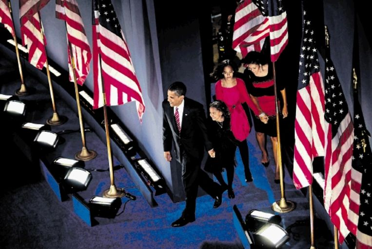 De Amerikanen kiezen Barack Obama tot hun toekomstige president. ( FOTO AFP) Beeld AFP