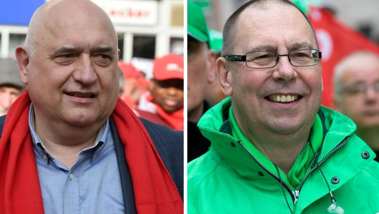 Rudy De Leeuw (ABVV) en Marc Leemans (ACV).