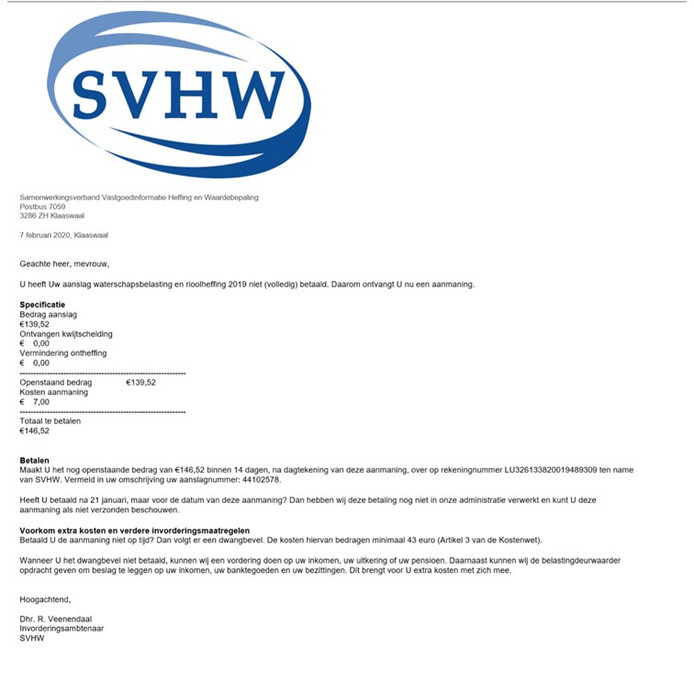 Een voorbeeld van een valse e-mail, die uit naam van het SVHW geschreven zou zijn.