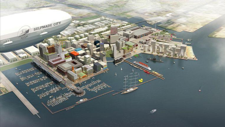 Zo ziet de NDSM-werf er mogelijk uit in 2025 Beeld Basta Urbanism