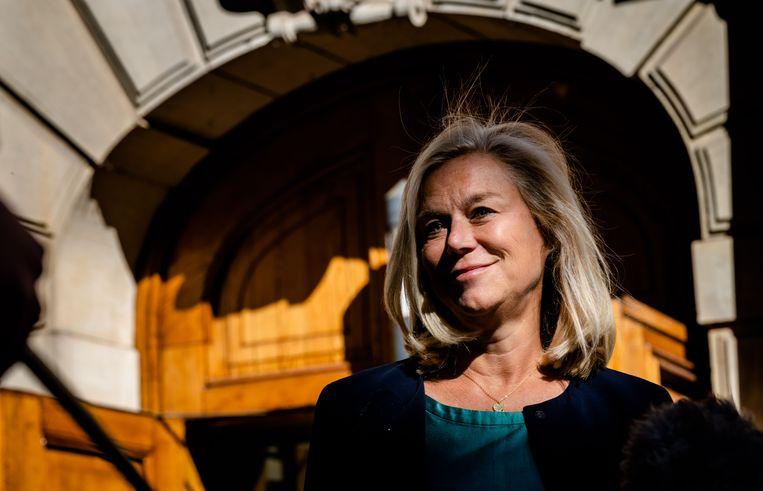 Sigrid Kaag aankomst op het Binnenhof voor de wekelijkse ministerraad. Beeld ANP