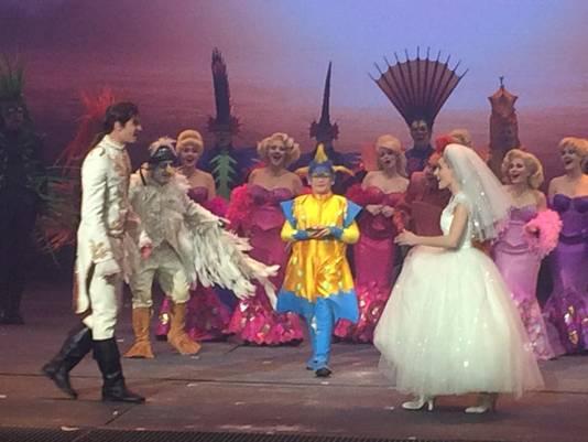 Milan De Raes als 'Botje' op het huwelijk van prins Erik (Juan Gerlo) en Ariël (Ianthe Tavernier).