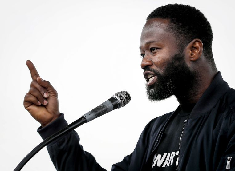Jerry Afriyie, dichter en voorman van actiegroep Kick Out Zwarte Piet. Beeld EPA