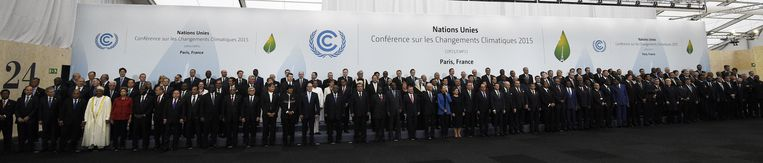 Groepsfoto van de leiders in Parijs Beeld anp
