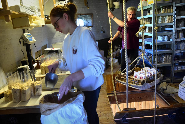 Drukte in de korenmolen Nooit Gedagt in Woudrichem met het malen, verpakken en verkopen van meelproducten. Beeld Marcel van den Bergh