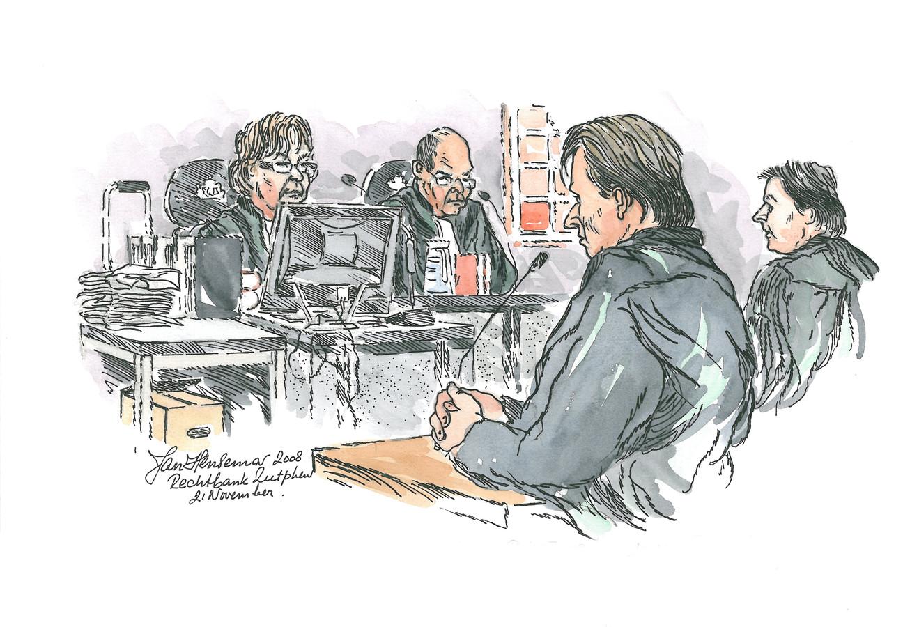 Rechtbanktekening van de Puttense moordzaak, met verdachte Ron P. en raadsman Ruud van Boom.