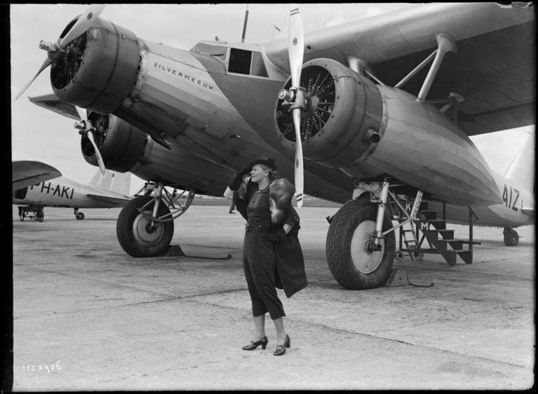 Fokker F.XX, PH-AIZ, de Zilvermeeuw, circa 1935. Beeld MAI
