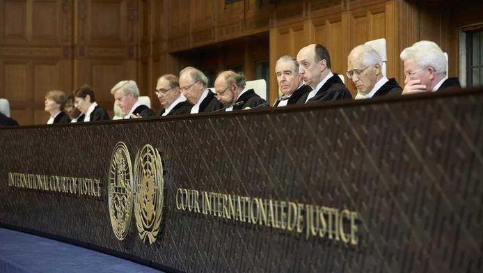 De rechters voorafgaand aan de uitspraak over de Japanse walvisjacht