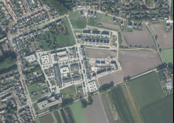 Impressie vanuit de lucht van plan-Kerkebogten in Eersel in 2015.