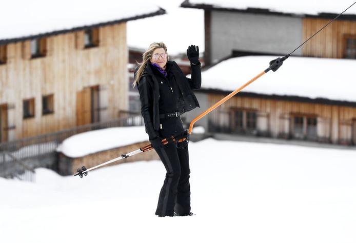 Koningin Máxima tijdens de jaarlijkse fotosessie in het Oostenrijkse Lech.