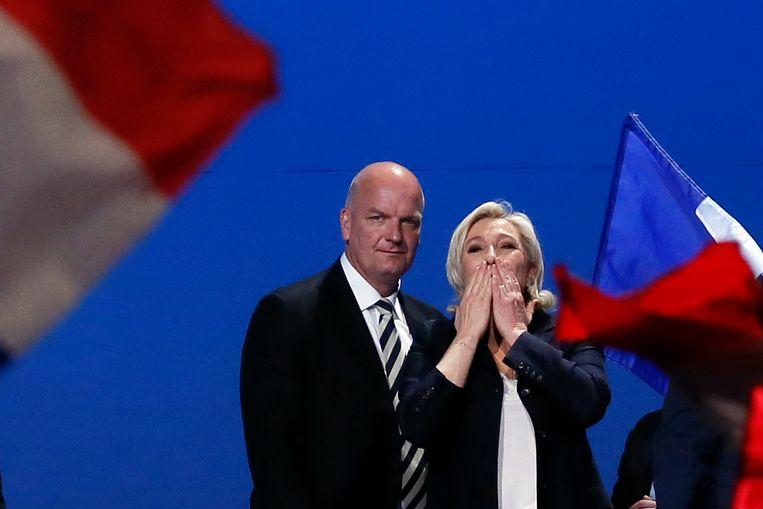 Marine Le Pen tijdens haar toespraak in Villepinte