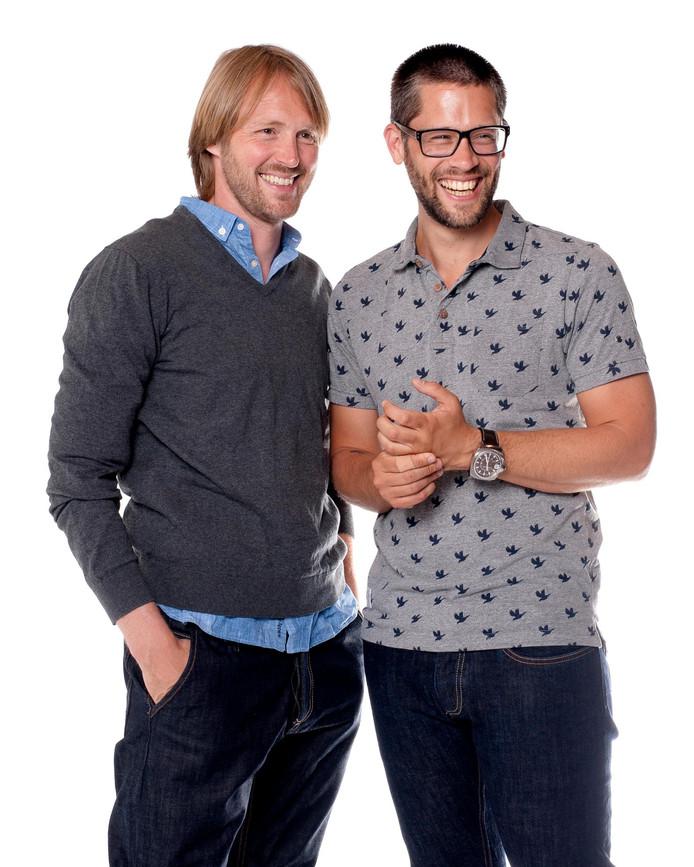 David en Arjan, de nieuwe columnisten van het ADmagazine. Foto Joost Hoving