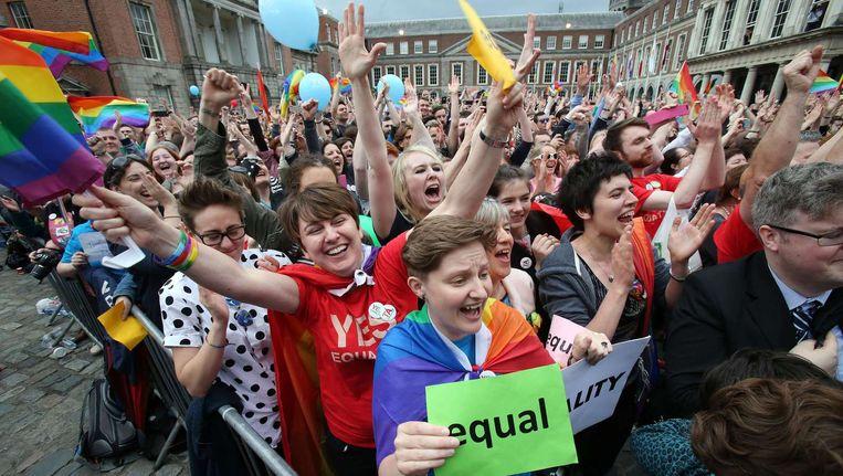 Inwoners van Dublin vieren de uitslag voor Dublin Castle. Beeld afp