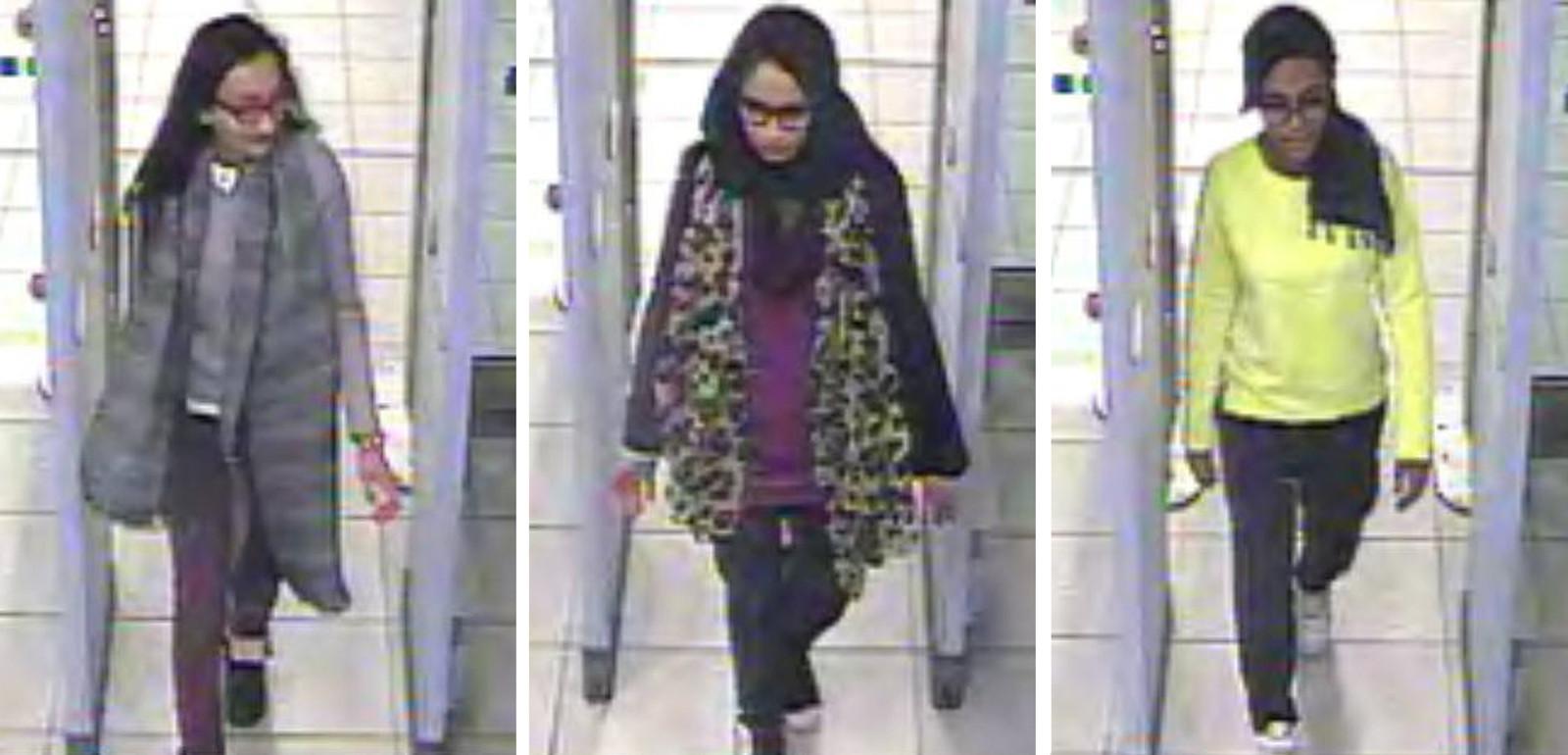 Shamima Begum (midden) met haar twee vriendinnen op Gatwick Airport in Londen toen ze als 15-jarig schoolmeisje naar Syrië vertrok. Daar trouwde ze met de Nederlander Yago R.