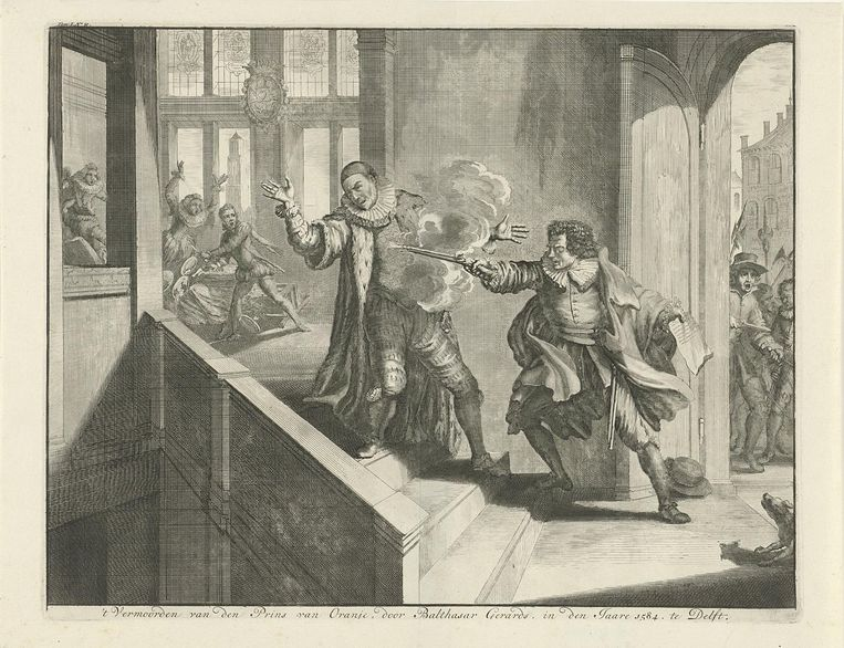 De moord op Willem van Oranje door Balthasar Gerards in 1584 Beeld Rijksmuseum