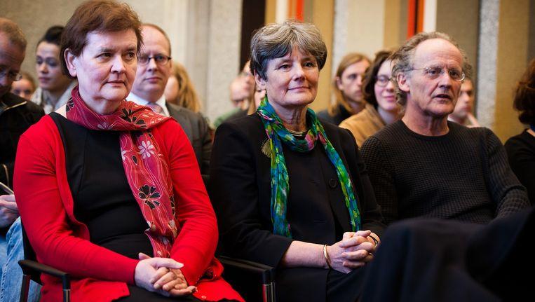 Rector magnificus Universiteit van Amsterdam (UvA) Dymph van den Boom, voorzitter College van Bestuur UvA Louise Gunning en decaan Frank van Vree. Beeld anp