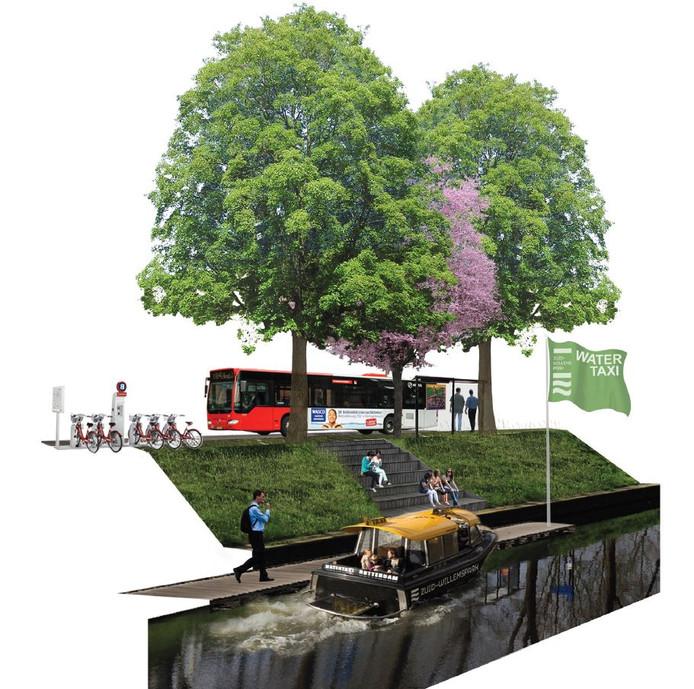 Impressie van de watertaxi in het Zuid-Willemspark