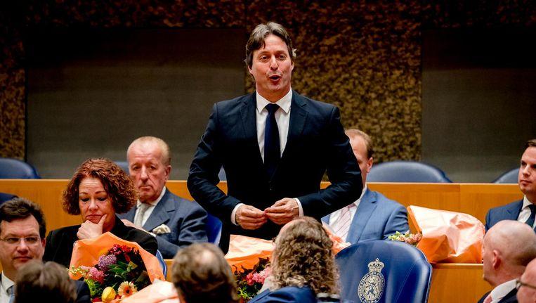 Edgar Mulder (PVV) tijdens zijn eedaflegging in de Tweede Kamer Beeld anp