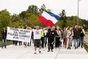 Een eerdere demonstratie in Hilversum  van Demonstratie van het Volk. De groep was klein, de bijeenkomst verliep rustig.