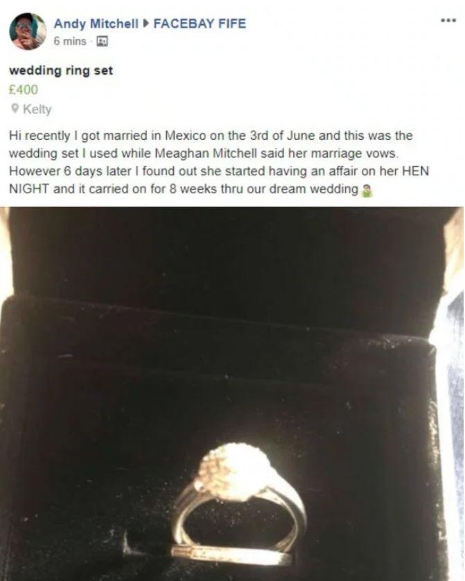 Het bericht dat Andy op Facebook plaatste.