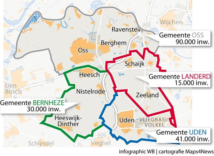 De vier gemeenten die eerder de ict-samenwerking zochten.