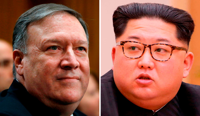 De Amerikaanse CIA-directeur Mike Pompeo (links) en de Noord-Koreaanse leider Kim Jong-un.