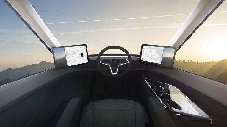 Computerafbeelding van de beoogde cabine van de elektrische Tesla e-truck. Beeld EPA