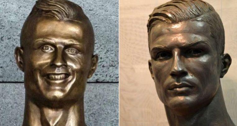 Links het minder geslaagde standbeeld op de luchthaven van Madeira, rechts de nieuwe buste.