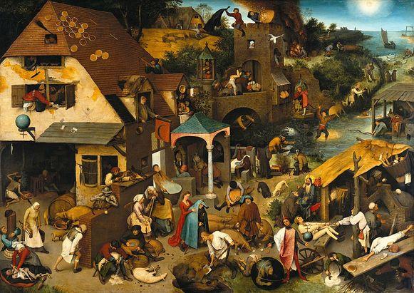 Pieter Bruegel de Oude zijn meesterwerk 'Nederlandse Spreekwoorden'.