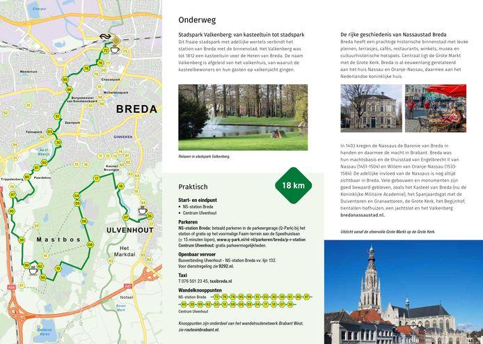 Route zes start in Breda en eindigt in Ulvenhout.