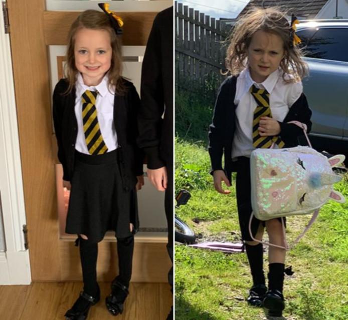 Lucie op haar eerste schooldag na de vakantie