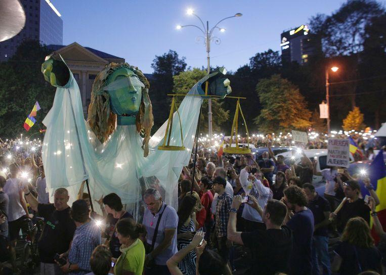Betoging in Boekarest.