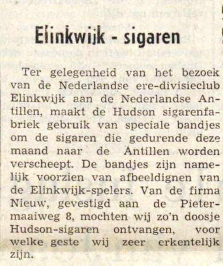 Een bericht over de 'Elinkwijk-sigaren' in de krant Amigoe di Curaçao. Beeld Amigoe di Curaçao