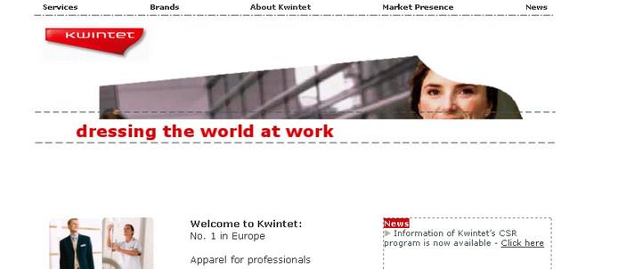 Screenshot van de website van Kwintet.