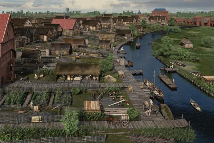 Zo moet de eerste haven van Den Bosch eruit hebben gezien rond 1250 na Christus. Deze haven lag achter de Moriaan (VVV-kantoor).