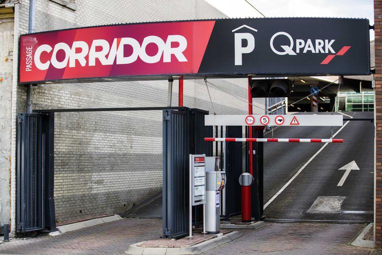Een logo van parkeergarage Q-Park Corridor.  Beeld ANP