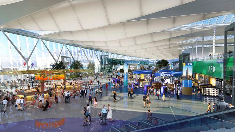 De luchthaven JFK in New York, berucht voor de vele vertragingen, zal grondig worden gerenoveerd en uitgebreid. Op de foto een impressie van hoe het eruit komt te zien.