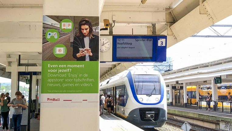 De groene zone op station Amsterdam Zuid. Beeld ProRail