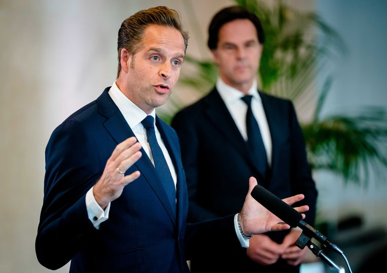 Minister De Jonge en Premier Rutte. Beeld ANP