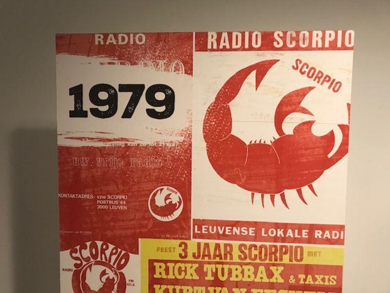 Een affiche viert drie jaar Radio Scorpio.