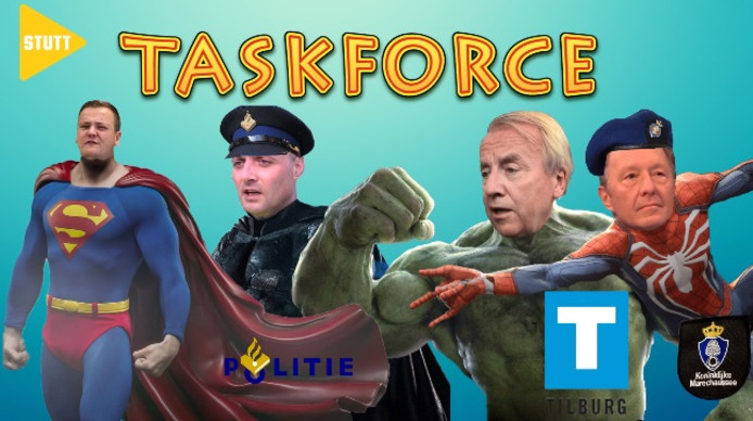 Video-project Stutt, met hier als voorbeeld de taskforce drugscriminaliteit, met Peter Noordanus als een soort Hulk. Links presentator Tom Berserik als Superman.