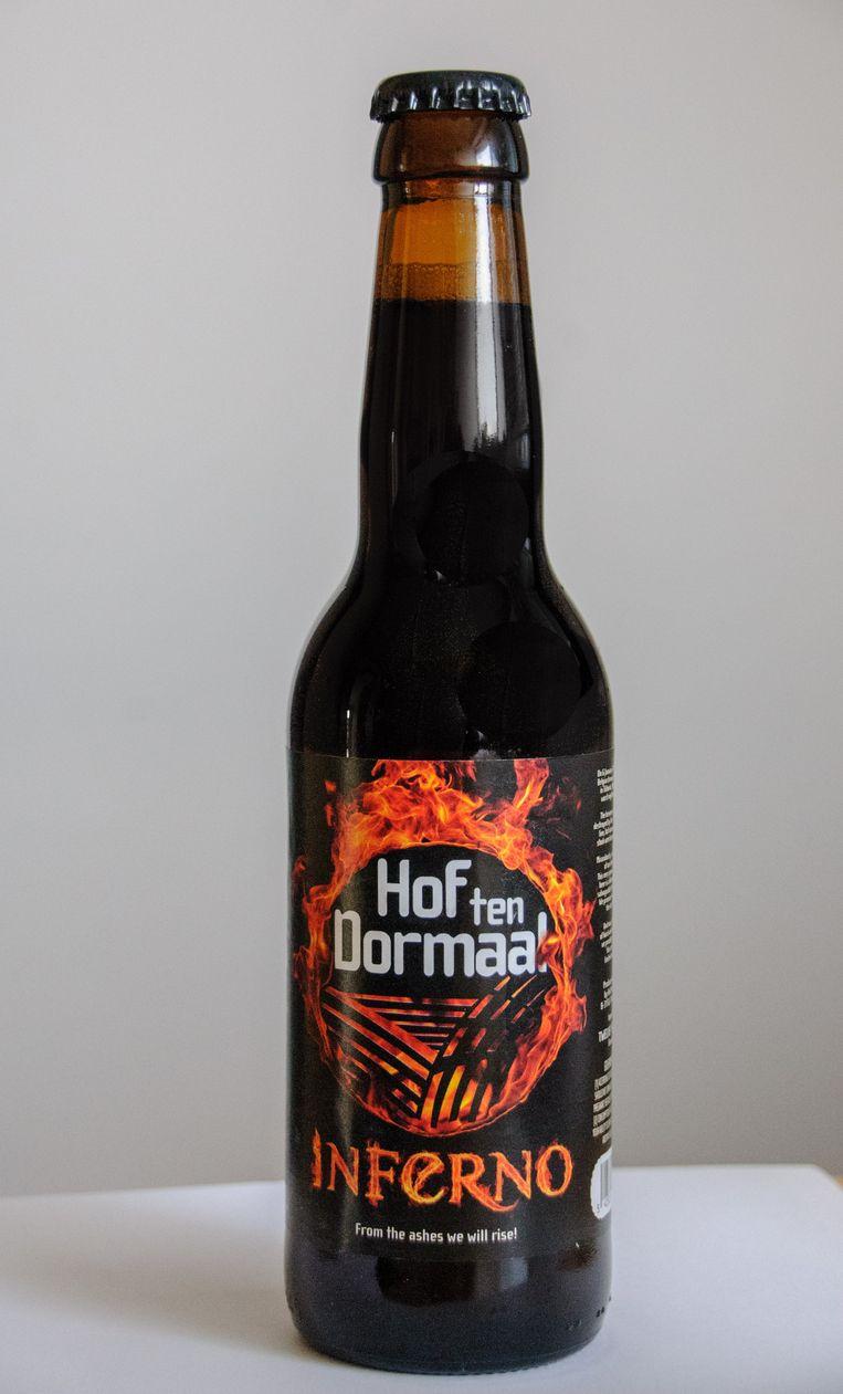 De nieuwste aanwinst van Hof ten Dormaal: De Inferno; bier dat letterlijk de brand meemaakte.