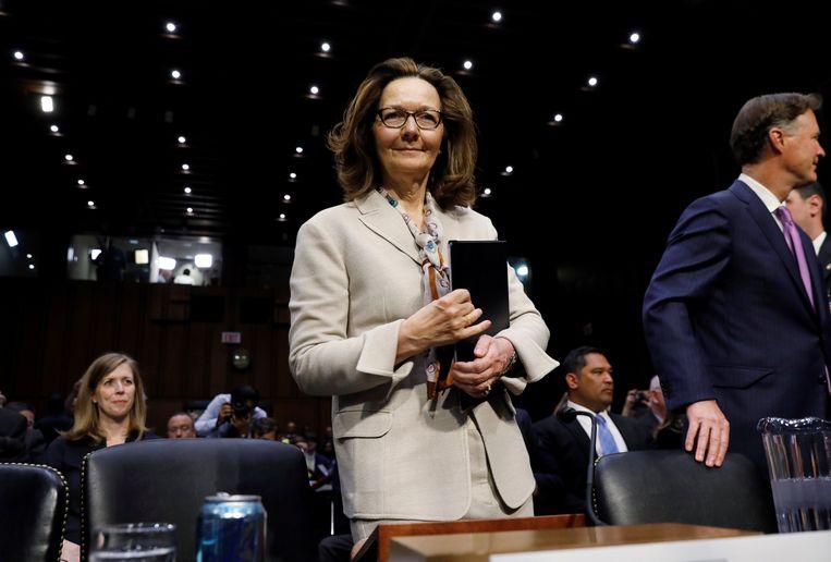 Gina Haspel tijdens een hoorzitting in de Senaat.
