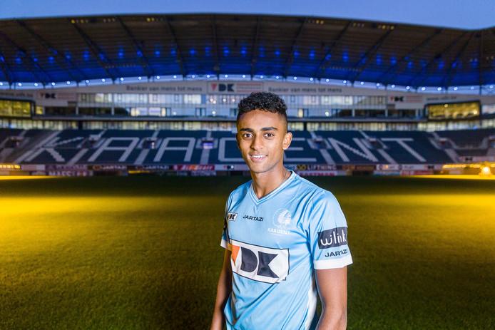 2017: Tesfaldet Tekie als speler van Gent.