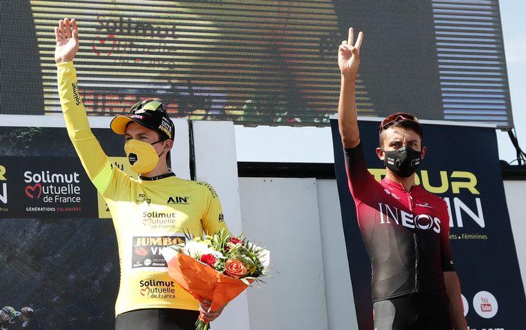 Roglic (l) en Bernal (r) in de Tour de l'Ain.