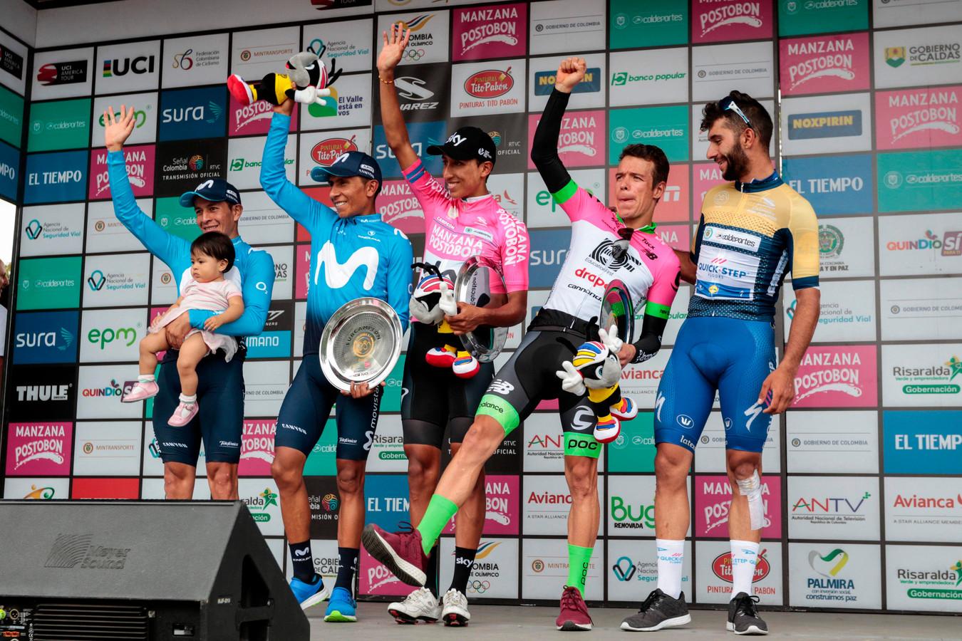 Colombiaanse renners (v.l.n.r.) vorig jaar: Dayer Quintana, Nairo Quintana (Movistar Team), eindwinnaar Bernal (Team Sky), Urán (Education First Team) en Gaviria (Quick-Step Floors).