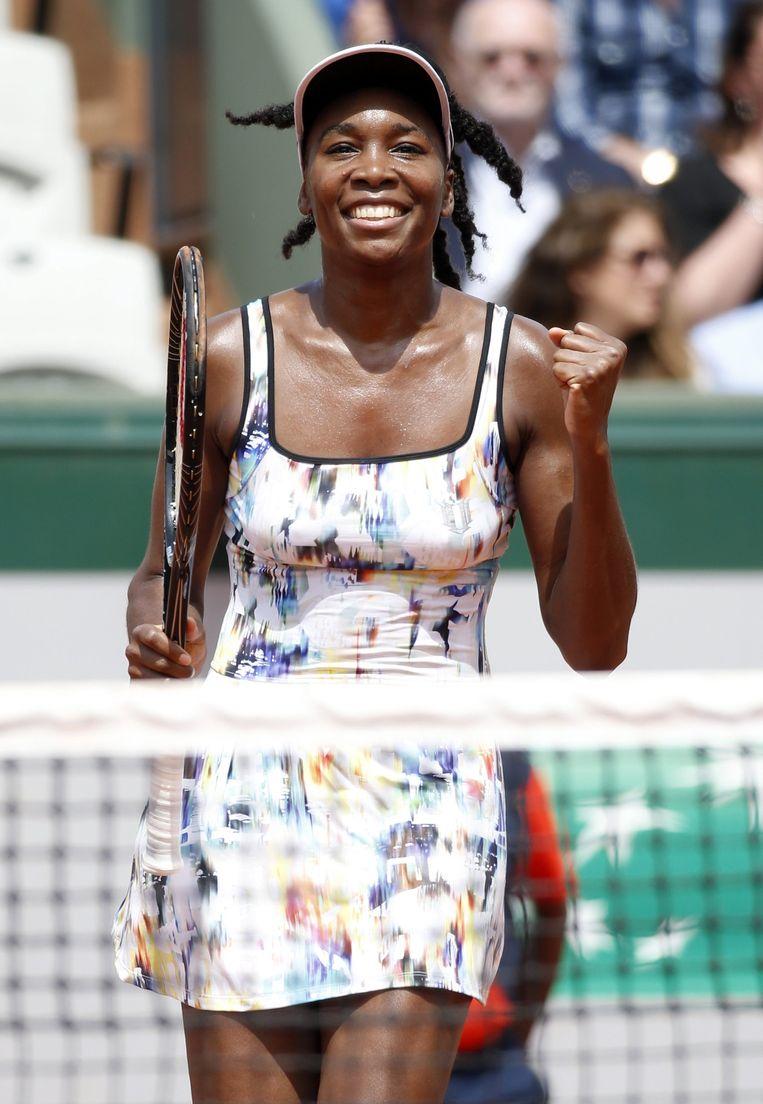 Venus Williams in haar eigen opvallende outfit, zonder bloemetjes.