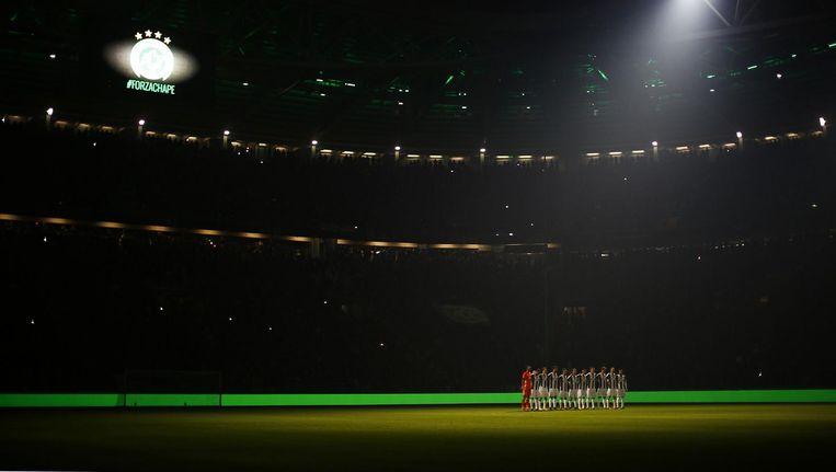 Eerbetoon aan de spelers van Chapecoense bij een wedstrijd van Juventus Beeld anp