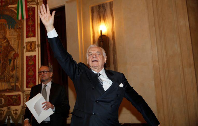 Algemeen directeur Alexander Pereira van La Scala vorige week vlak voor een persconferentie. Hij ligt onder vuur vanwege zijn omstreden plan om samen te werken met Saoedi-Arabië.  Beeld AP